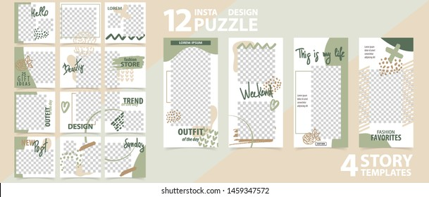 Trendy editable template for social networks stories and posts, vector illustration. Set of instagram story and post square frame. Mockup for advertising.  Design backgrounds for social media.