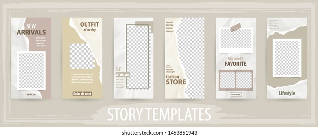 Trendy editable template for social networks stories, torn paper, vector illustration. Design backgrounds for social media, internet web banner,  poster and brochure.