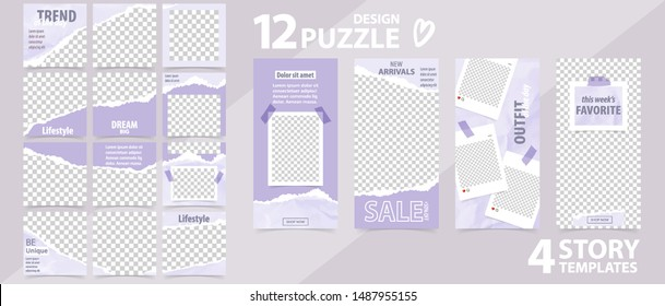 Trendy editable template for social networks stories and posts, vector illustration. Set of story and puzzle post square frame. Mockup for advertising.  Design backgrounds for social media