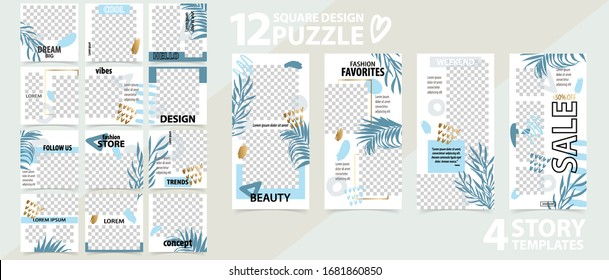 Trendy editable template for social networks stories and posts, vector illustration. Set of story and puzzle post square frame. Mockup for advertising. Design backgrounds for social media.
