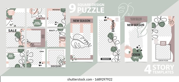 Trendy editable template for social networks stories and posts, vector illustration Set of story and puzzle post square frame Mockup for advertising Design backgrounds for social media