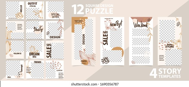 Trendy editable template for social networks stories and posts vector illustration Set of story and puzzle post square frame Mockup for advertising Design backgrounds for social media