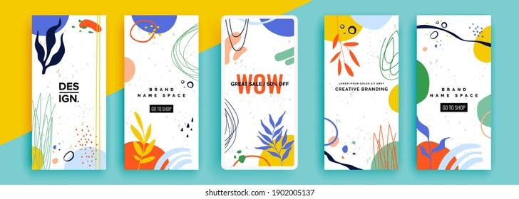 Trendy editable template for social networks stories, vector illustration. Design backgrounds for social media. - Shutterstock ID 1902005137