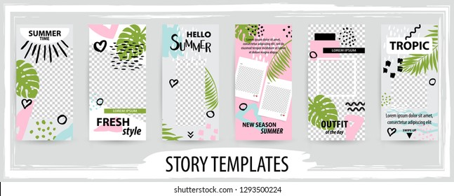 Trendy editable template for social topical networks stories, vector illustration. Design backgrounds for social media.