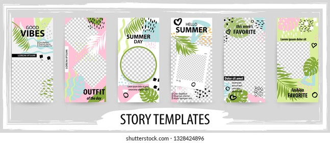 Trendy editable template for social tropical networks stories, story, vector illustration. Design backgrounds for social media.