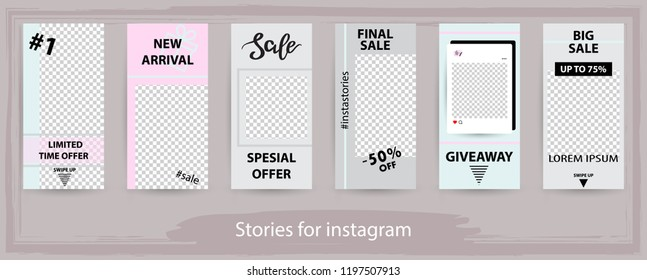 Trendy editable templates for instagram stories,  sale, vector illustration. Design backgrounds for social media. Hand drawn abstract card.