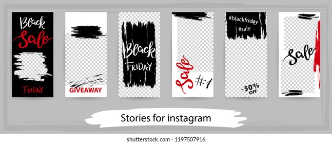 Trendy editable templates for instagram stories, black friday sale, vector illustration. Design backgrounds for social media. Hand drawn abstract card.