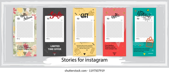 Trendy editable templates for instagram stories, black friday sale, gift, vector illustration. Design backgrounds for social media. Hand drawn abstract card.