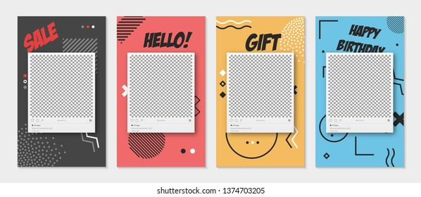 Trendy editable templates for stories, sale, gift, vector illustration. Design backgrounds for social media. Hand drawn abstract card.