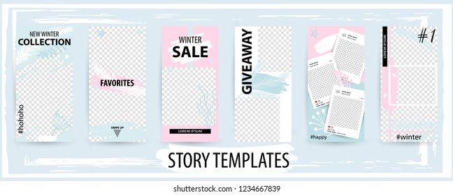 Trendy editable winter template for social networks stories, story, vector illustration. Design backgrounds for social media.