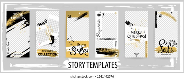 Trendy editable winter template for social networks stories, instagram story, vector illustration. Design backgrounds for social media.