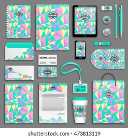 Trendy eighties Corporate identity template set. Business stationery mock-up with logo. Branding design. Geometric background.