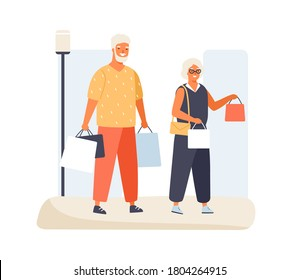 Trendy elderly couple carry packages with purchases having shopping together vector flat illustration. Happy old man and woman enjoying discount or sale isolated on white. Stylish mature buyer pair