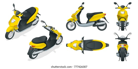 Trendy electric scooter, isolated on white background. Isolated electric scooter, template for branding and advertising. Front, rear, side, top and isometry front and back.