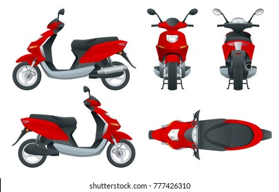 Trendy electric scooter, isolated on white background. Isolated electric scooter, template for branding and advertising. Front, rear, side, top and back.