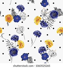Trendy elegance and softy blooming carnation flowers seamless pattern vector on pollka dots on white  background for fashion fabric and all prints in hand drawn style.