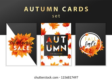 Trendy and elegant autumn background with realistic yellow gold orange leaves Gradient leaf, simple minimalistic style Sale banner template collection Fall season poster, card set Vector illustration