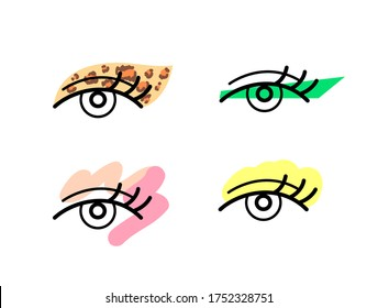 Trendy eye makeup artist icons. Bright, colourful,  artistic eyeshadow and winged lines.