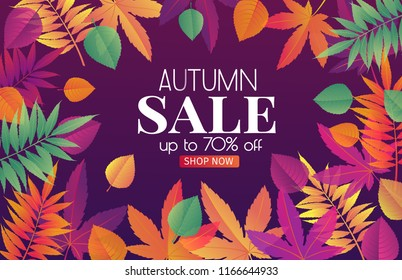 Trendy fall sale poster with gradient bright autumn foliage of maple, oak, elm and chestnut.