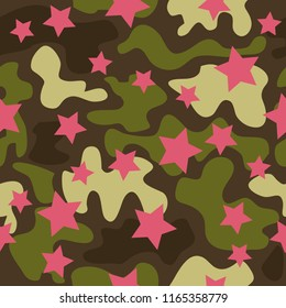 Trendy fashion camouflage seamless pattern. Clothing female style camo repeat print. Design element for fabric or wallpaper.