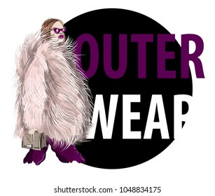 Trendy fashion girl  in pink fur coat with bag. Model with sunglasses and outerwear. Vector sketch illustration.