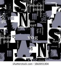 Trendy fashion print beauty modern women text seamless pattern
