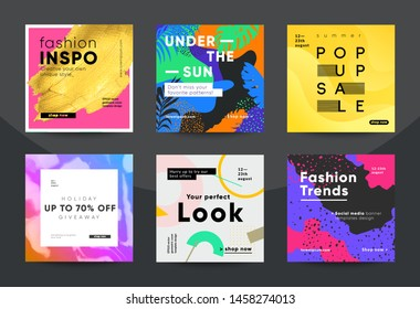 Trendy fashion sale banners for social media post. Eps10 vector.