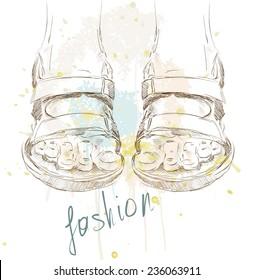 trendy fashion  sandals.  Fashionable Hand drawn illustration.