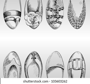 trendy fashion  shoes.  Fashionable Hand drawn illustration.