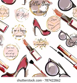 Trendy fashion vector wallpaper pattern with cosmetics, shoes, lipstick, mascara and lipstick