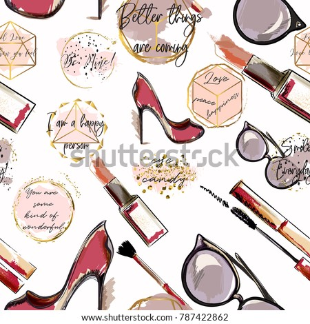 Trendy Fashion Vector Wallpaper Pattern With Cosmetics Shoes Lipstick Mascara And