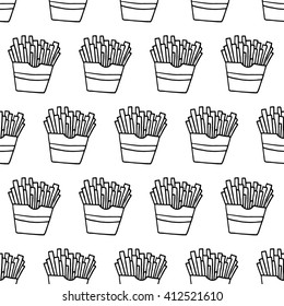 Trendy fast food pattern with hand drawn french fries. Cute vector black and white fast food pattern. Seamless monochrome fast food pattern for fabric, wallpapers, wrapping paper and web backgrounds.