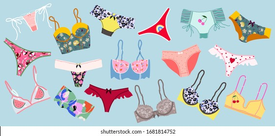 Trendy female underwear, lingerie set. Panties, bikinis and bras. Modern hand drawn colorful collection of women's underwear. Beautiful pattern thongs and lace bras. Sensuality and femininity concept.