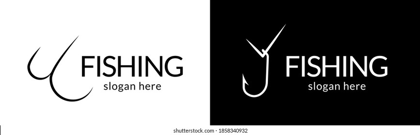 Trendy fish hook logo. Vector.