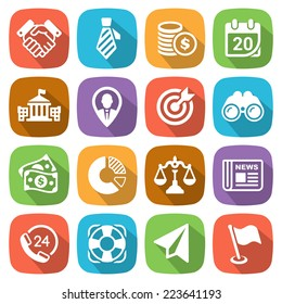Trendy flat business and finance icon set 2 Vector illustration