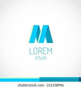 Trendy flat colors M letter logo template