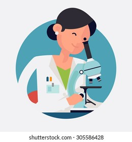 Trendy flat design round web icon on female scientist character at work   Concept design on chemistry laboratory specialist working on research and exploration