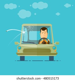 Trendy flat design vehicle sedan car accident after a car accident, a broken traffic and surly driver, crack on the windshield, vector illustrations EPS 10