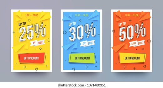 Trendy flat geometric vector banner set. Vivid colorful banners in retro poster design style. Vintage colors and shapes. Yellow, blue and red colors. Sale labels with discount numbers.