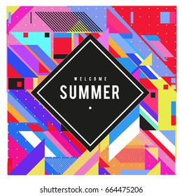 Trendy flat geometric vector banners. Vivid colorful banners in retro poster design style. Vintage colors and shapes Summer holiday theme.