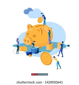 Trendy flat illustration. Banking service illustration concept. Deposit. Piggy bank. Bank team. Bank operations. Money. Coins. Template for your design works. Vector graphics.