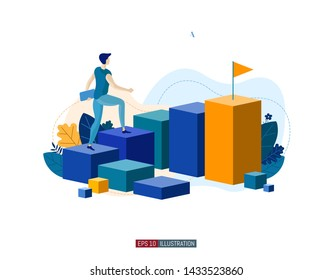 Trendy flat illustration. Career ladder. Motivation. Goal achievment. Way up.  Template for your design works. Vector graphics.