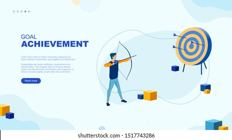 Trendy flat illustration. Goal achievement page concept. Archer aims at the target. Working on achieving the goal mataphor. Template for your design works. Vector graphics.