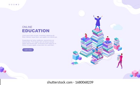 Trendy flat illustration. Online education  page concept. People read books and collaborate. Learning. Education.  Knowledge. Сollege graduate. Template for your design works. Vector graphics.