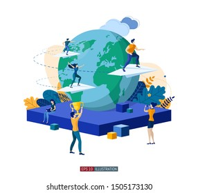 Trendy flat illustration. Teamwork concept. Globalization. International business project. Competition. Goal achievement. Template for your design works. Vector graphics.