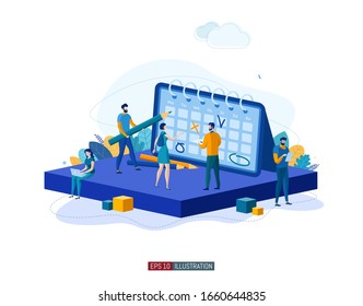 Trendy flat illustration. Teamwork concept. People make a plan. Planning. Business strategy. Organization. Cooperation. Template for your design works. Vector graphics.
