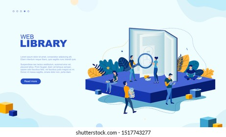 Trendy flat illustration. Web library page concept. Education. Knowledge. Science. Digital archive. Template for your design works. Vector graphics.