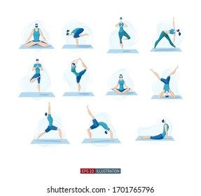 Trendy flat illustration. Yoga poses set. Yoga Lifestyle. Man and woman doing yoga. Activity. Fitness. Template for your design works. Vector graphics.