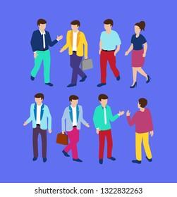 Trendy Flat Isometric people business businessman concept of violet style, 3d modern design. Vector illustration of modern business background