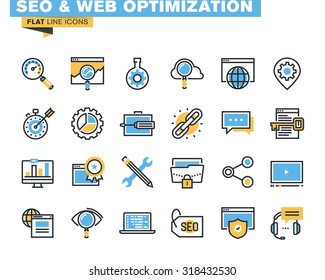Trendy flat line icon pack for designers and developers. Icons for seo and web optimization, for websites and mobile websites and apps.